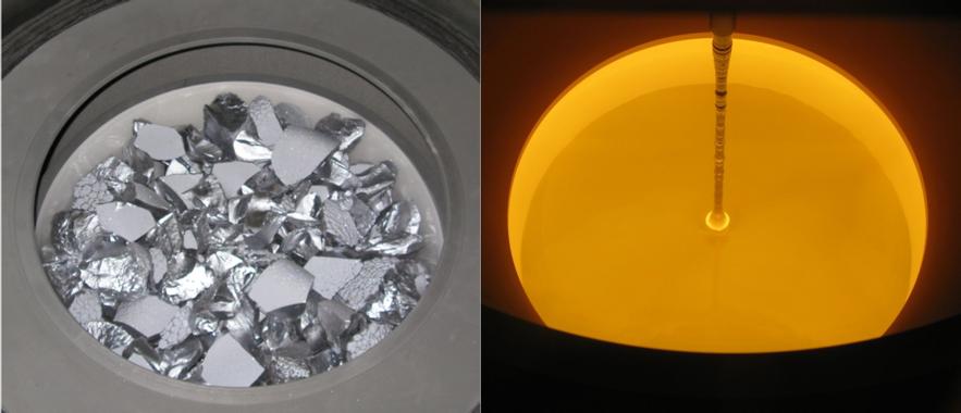 Aspecto del silicio antes y después de fundirlo (imagen tomada en el interior de un reactor Czochralski). / IES-UPM